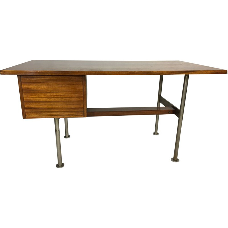 Vintage rosewood & steel desk by Alfred Hendrickx for Belform