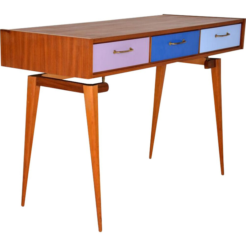 Scandinavian vintage wooden and melaminate desk 1960