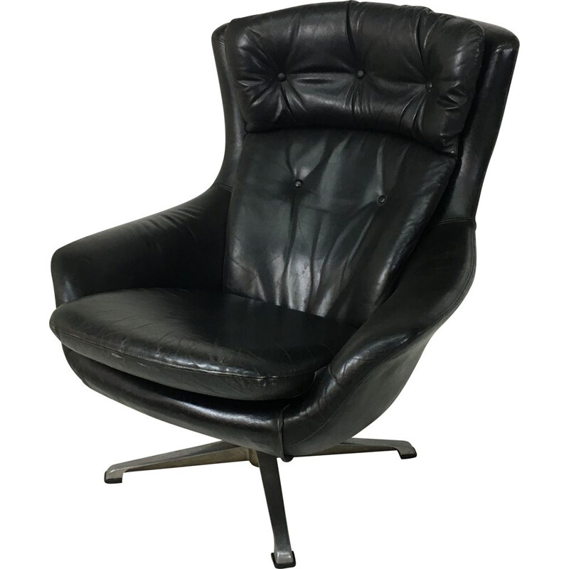 Vintage danish swivelling armchair in black leather 1960s
