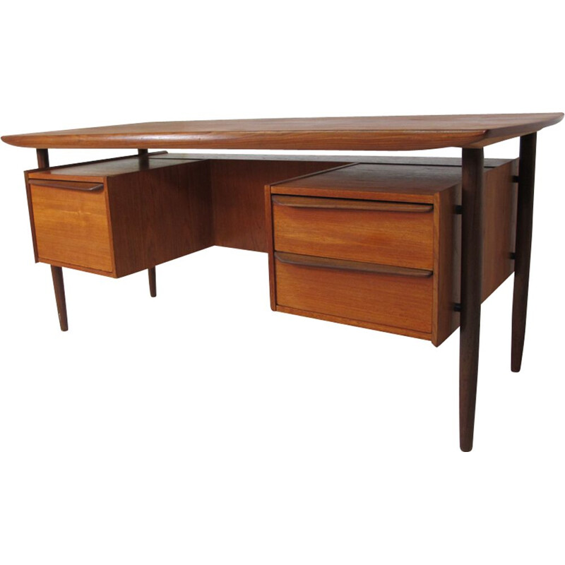 Vintage danish executive desk in teakwood 1950s