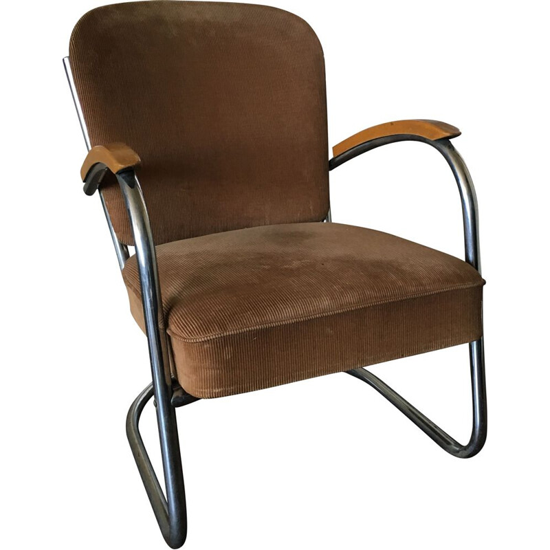 Vintage 436 Lounge Chair for D3 Rotterdam in brown fabric and tubular steel