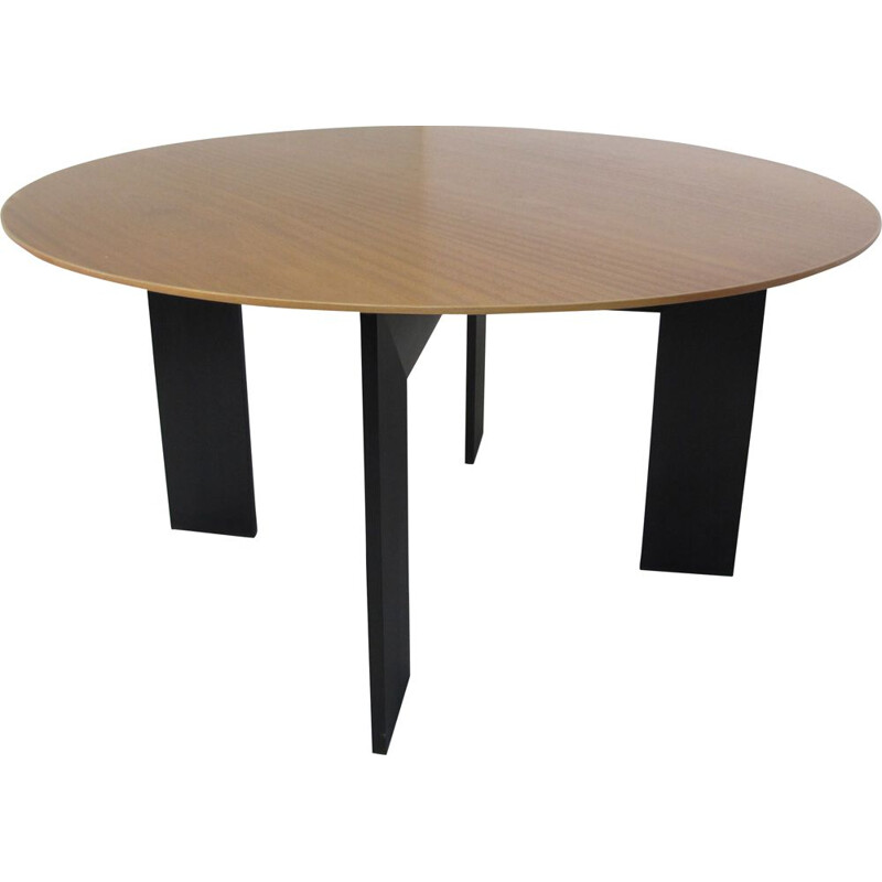 Vintage german table for Rosenthal in teak and black aluminium 1980s