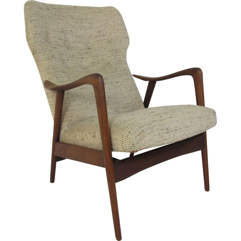 Vintage reclining lounge chair for Westnofa in teak and wool 1950s