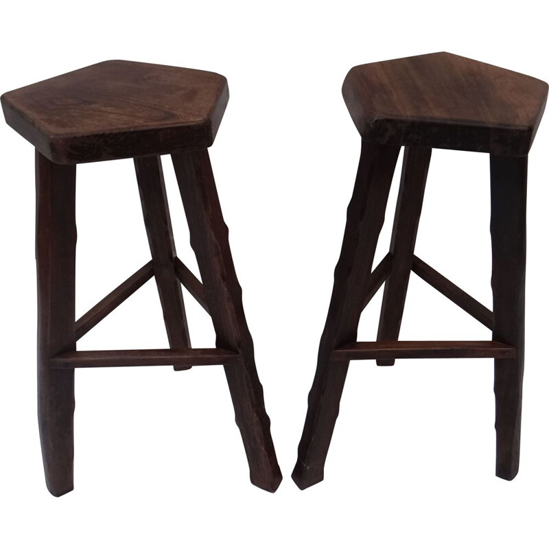 Pair of vintage brutalists stools in solid elm wood