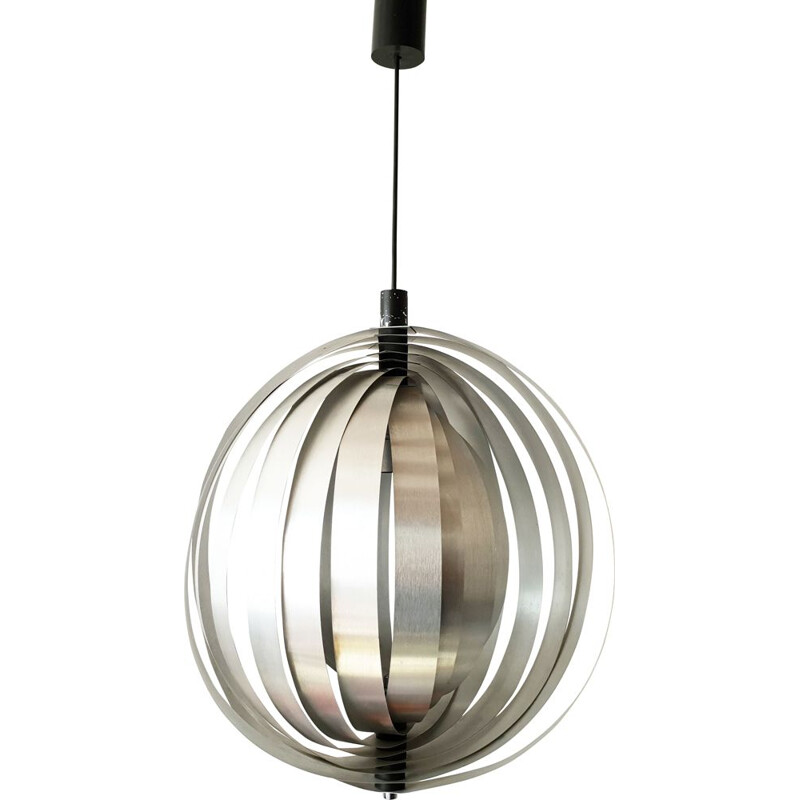 Vintage hanging lamp in silver steel 1960