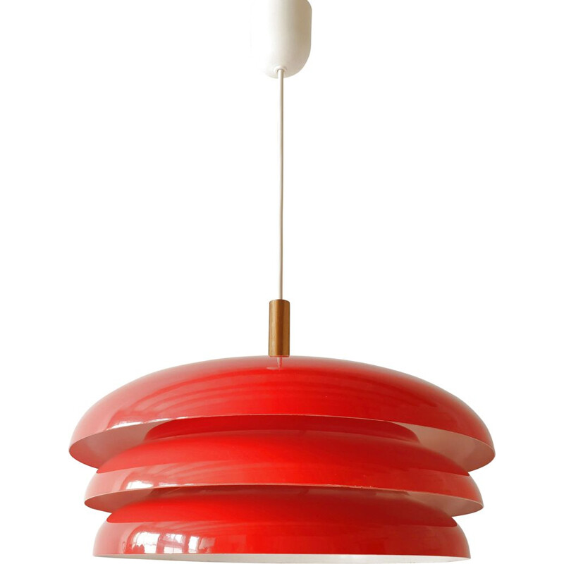 Scandinavian vintage hanging lamp in red steel and brass 1960