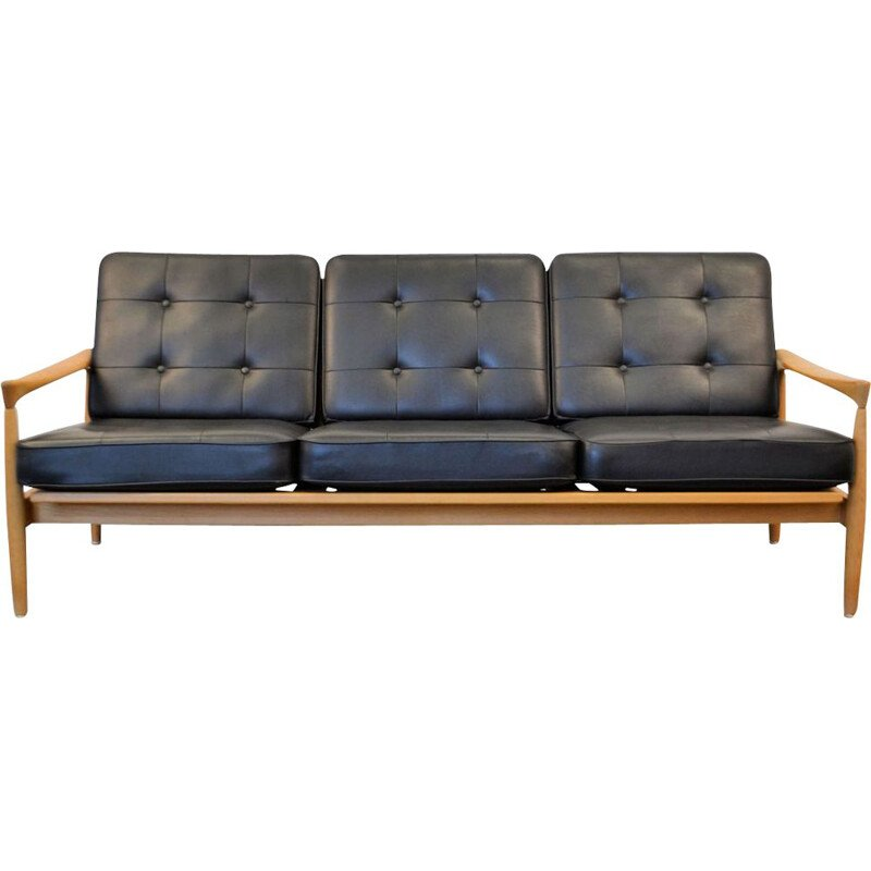 Vintage Kolding sofa by Erik Wørts in black leather and oak 1960s