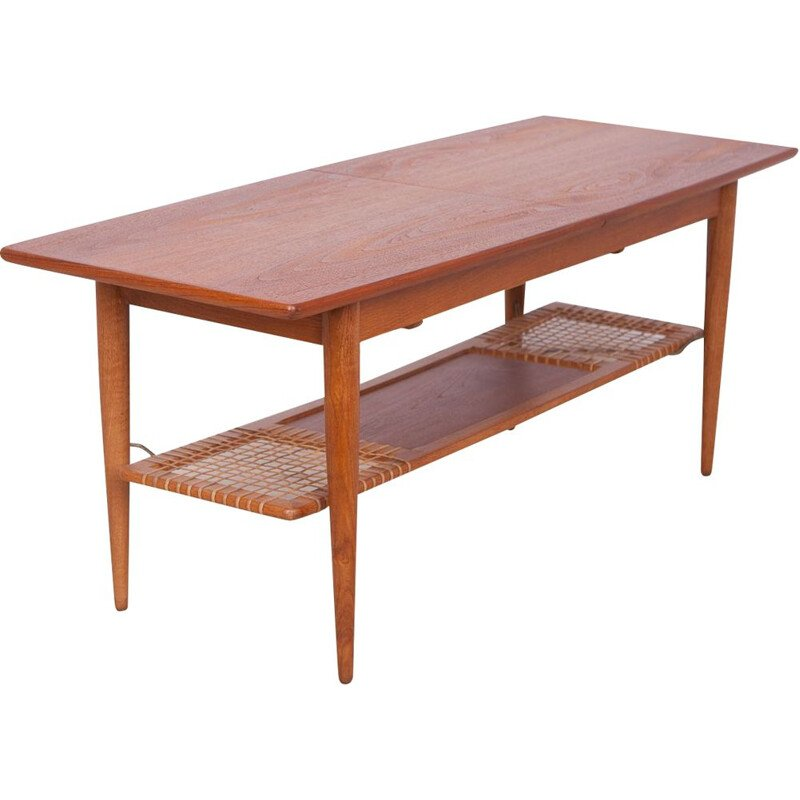 Vintage danish coffee table in teak and raffia 1960s