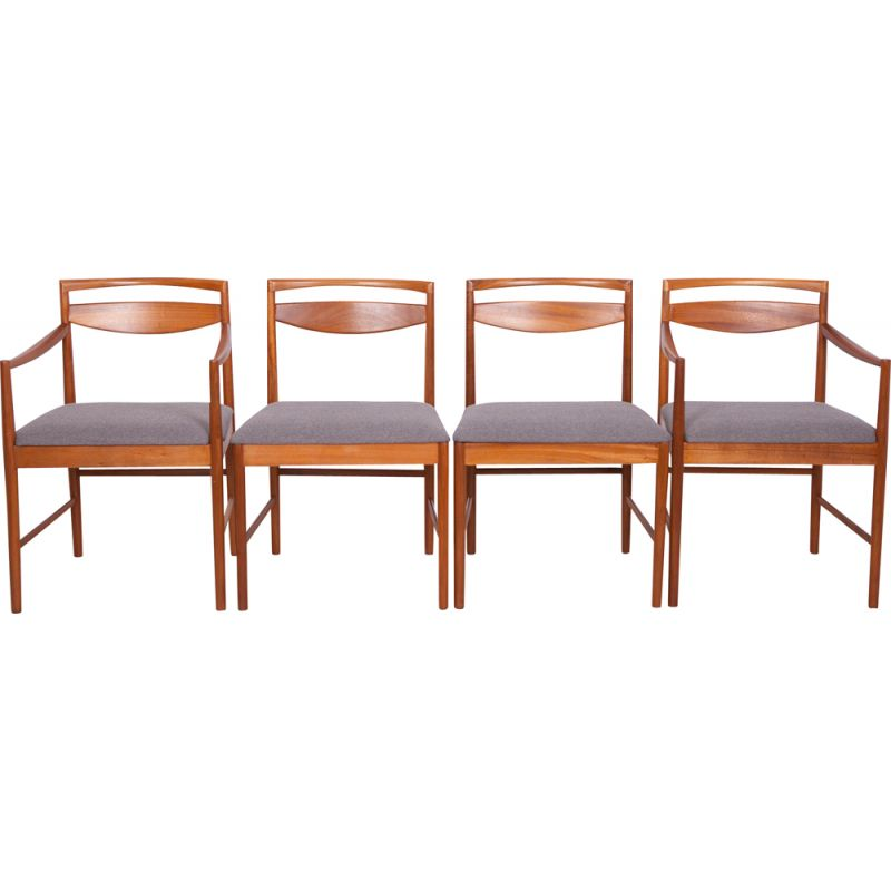Set of 4 vintage chairs for McIntosh in grey fabric and teak 1960s