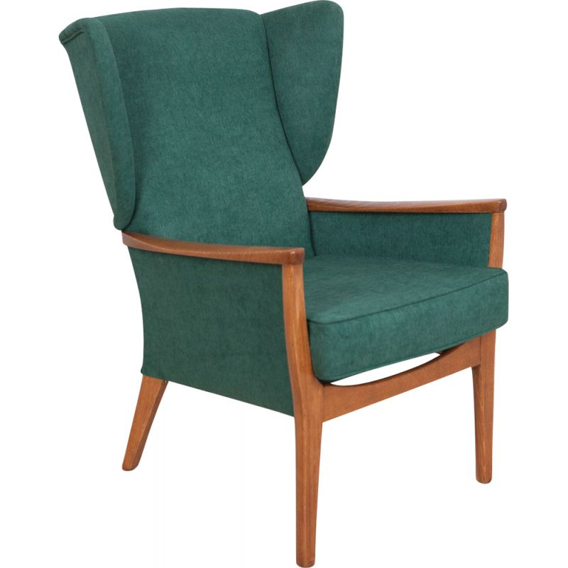 Vintage Wingback Armchair For Parker Knoll In Green Fabric And