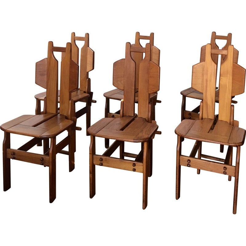 Set of 6 vintage chairs made of teak wood 1970