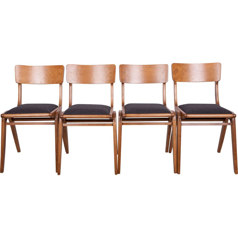 Set of 4 vintage Bumerang chairs for Gościcińskie in black fabric and beech 1960s