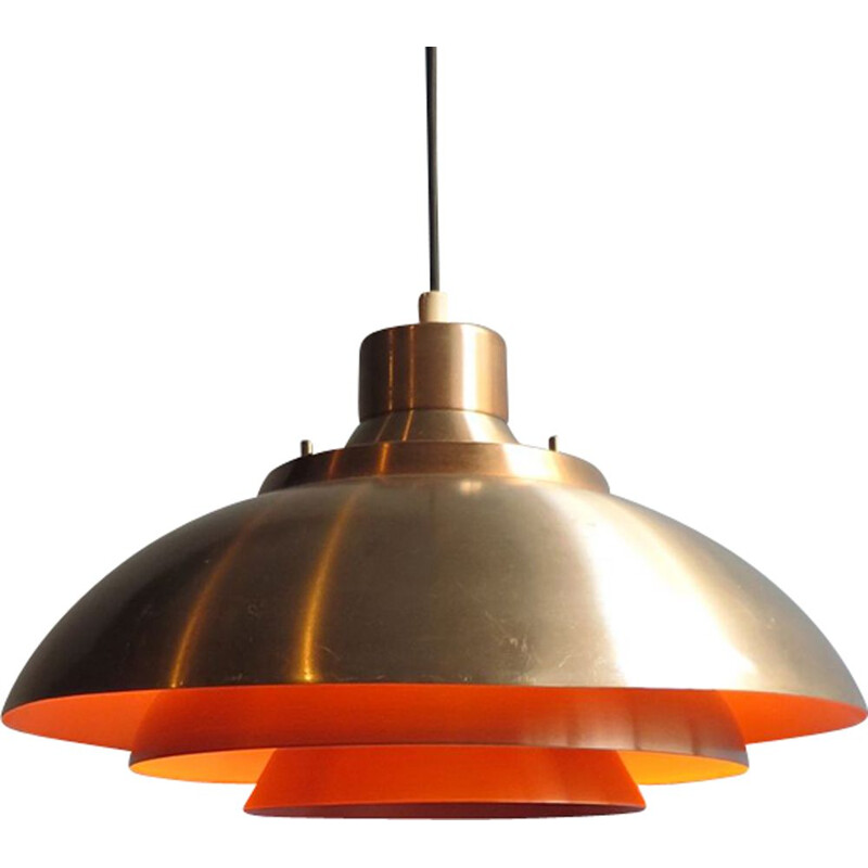 Vintage scandinavian golden and orange aluminium hanging lamp 1950