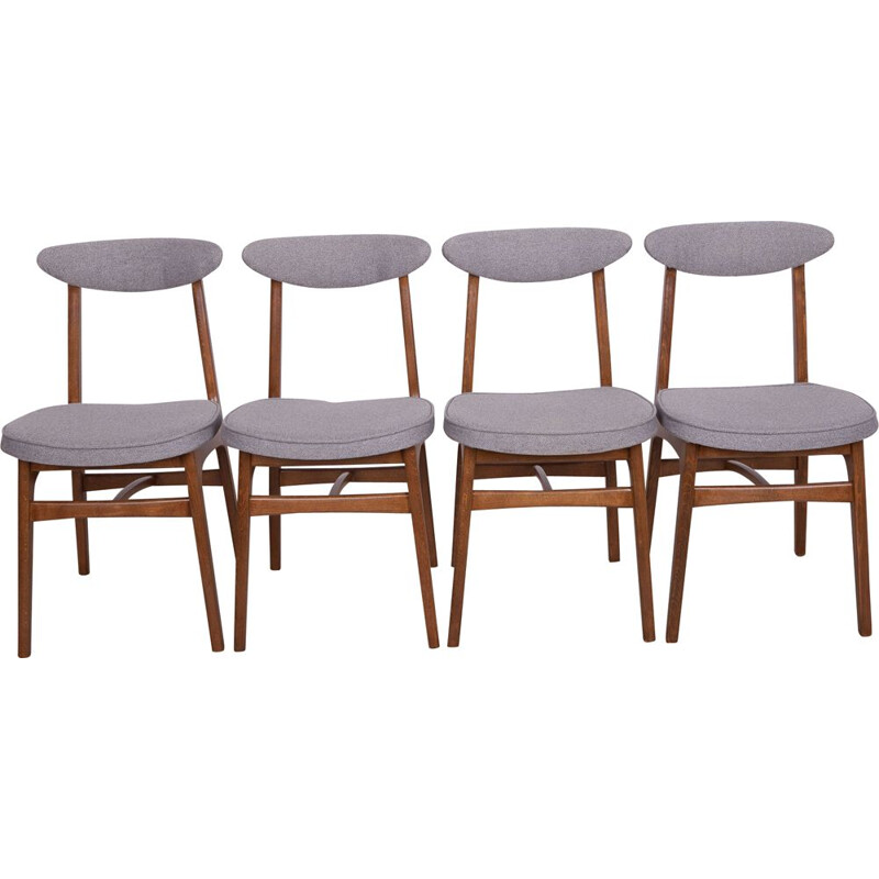 Set of 4 vintage 200-190 chairs by Teofil Hałas in beech and grey fabric 1960s