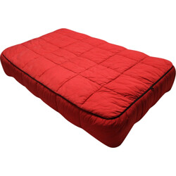 Arflex double bed in wood and red fabric, Cini BOERI - 1970s