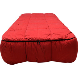 Arflex single bed in wood and red fabric, Cini BOERI - 1970s