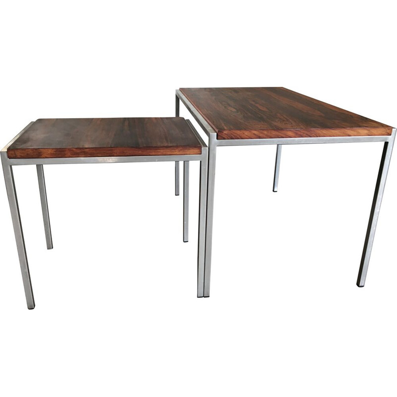 Set of 2 vintage side tables in rosewood and steel from Pastoe 1960s
