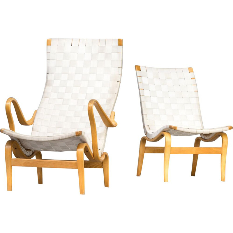 Set of 2 vintage armchairs Pernilla by Bruno Mathsson for Karl Mathsson 1970s