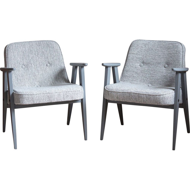 Pair of vintage armchairs model 366 in light grey by Jozef Chierowski 1960s