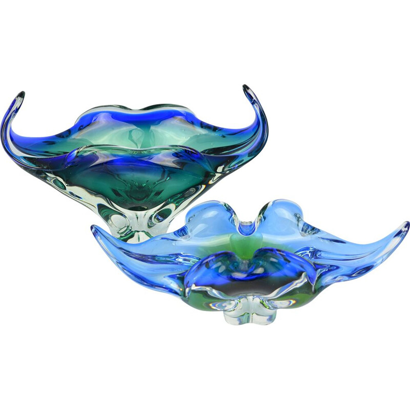 Vintage large blue-green glass bowl designed by J. Hospodka