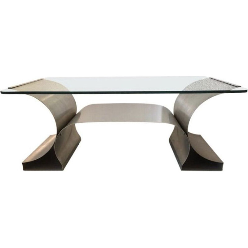 Vintage steel coffee table brushed by François Monnet for Kappa 1970