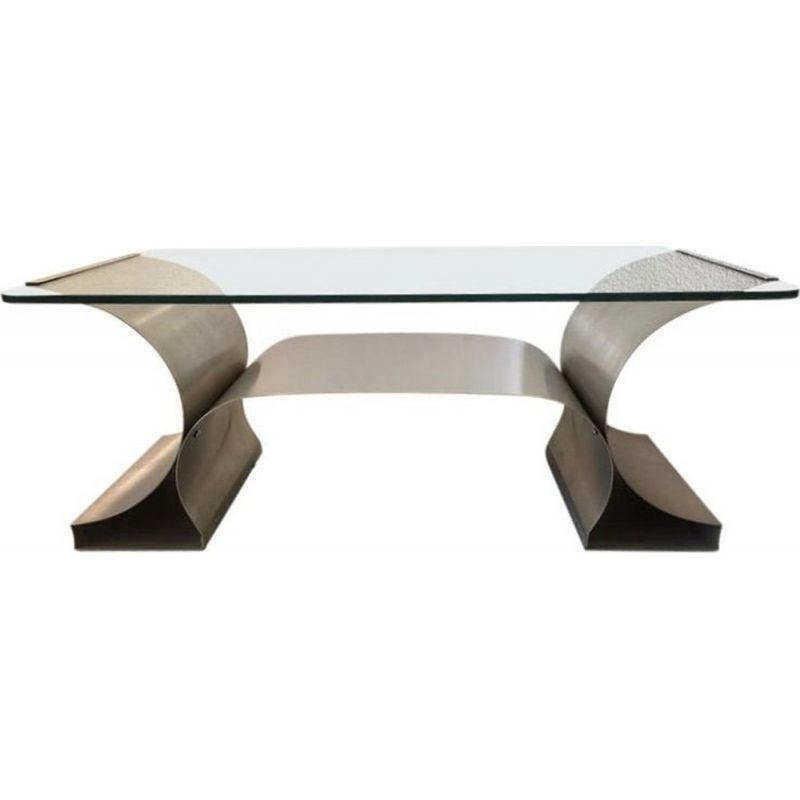 Glass Coffee Table Images.Vintage Steel Coffee Table Brushed By Francois Monnet For Kappa 1970