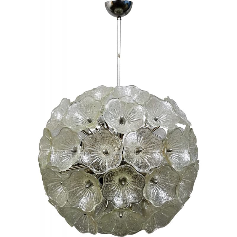 Sputnik White & Transparent Murano Glass Flowers Chandelier from Italian light design