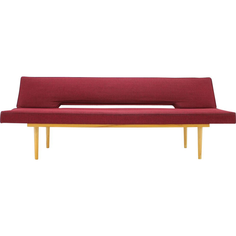 Vintage sofa by Miroslav Navrátil in wood and fabric1960s