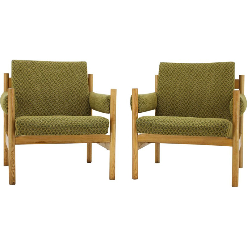 Pair of vintage armchairs for Dřevotvar Pardubice in green fabric and wicker 1970s