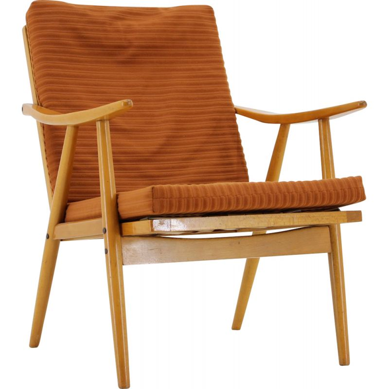 Vintage lounge chair for Ton in wood and orange fabric 1970s
