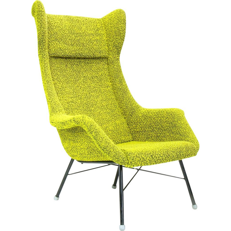 Vintage Wingback armchair by Miroslav Navratil for Ton in original yellow and green