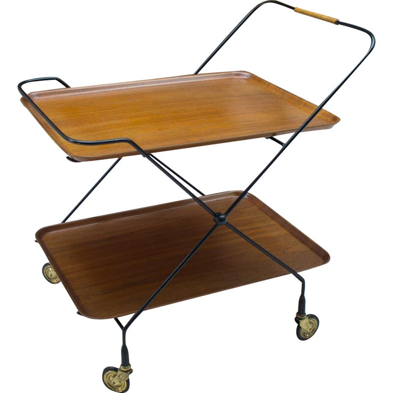 Vintage bar cart for Åry Fanérprodukter Nybro in teak and metal 1960s