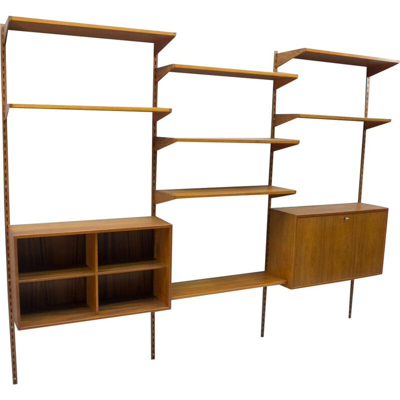 Vintage shelving unit with secretaire for FM Møbler in teak 1960s