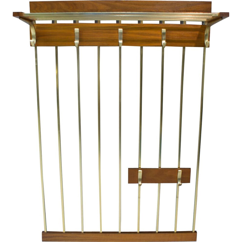 Vintage wall rack in brass and walnut 1960s