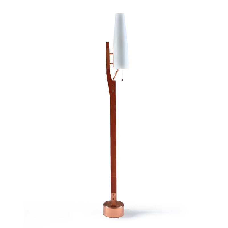 Orrefors floor lamp in teak copper and opaline glass - 1960s