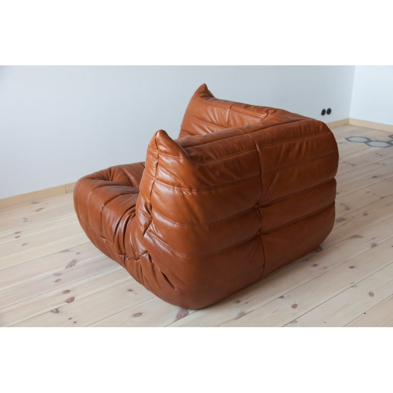 Vintage Togo corner couch for Ligne Roset in whiskey brown leather, 1970s