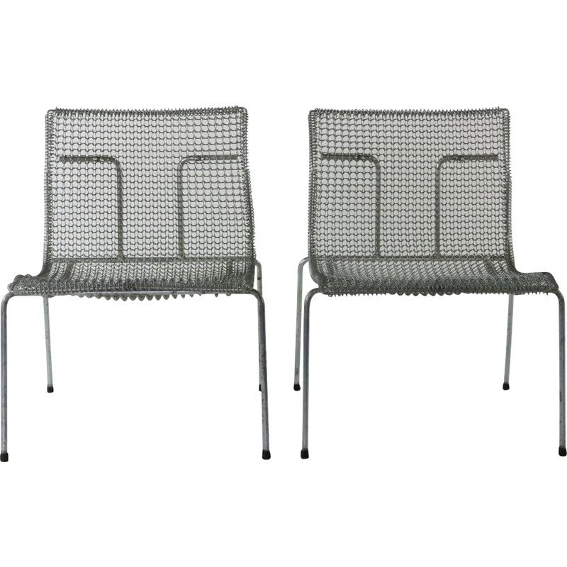 Pair of vintage easy chairs for Spectrum Holland in cast steel 1990s