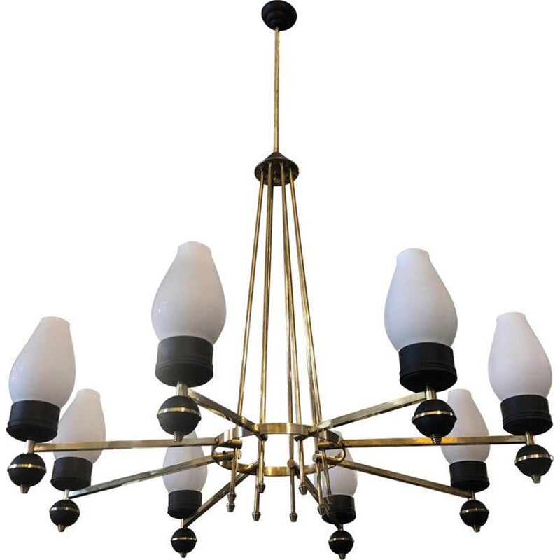 Vintage chandelier in brass and black metal Italy 50s