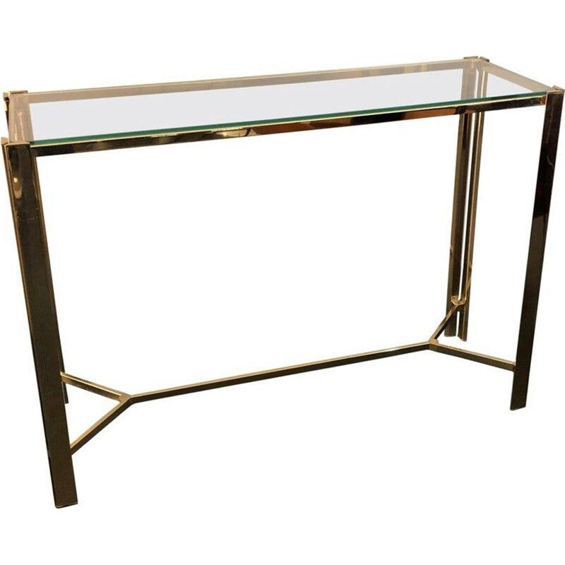 Vintage console table in gilded metal and glass Italy 1960
