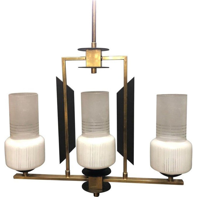 Vintage 3 lights chandelier in ebonized wood, brass and glass Italy 1950