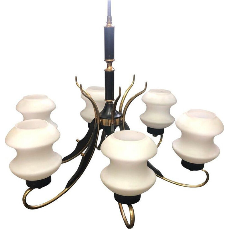 Vintage chandelier in brass, ebonized wood and white glass Italy 1950