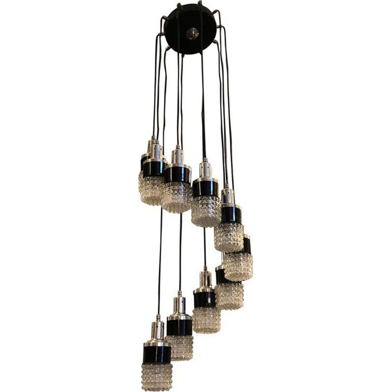 Vintage chandelier ten lights cascading Italy 1970