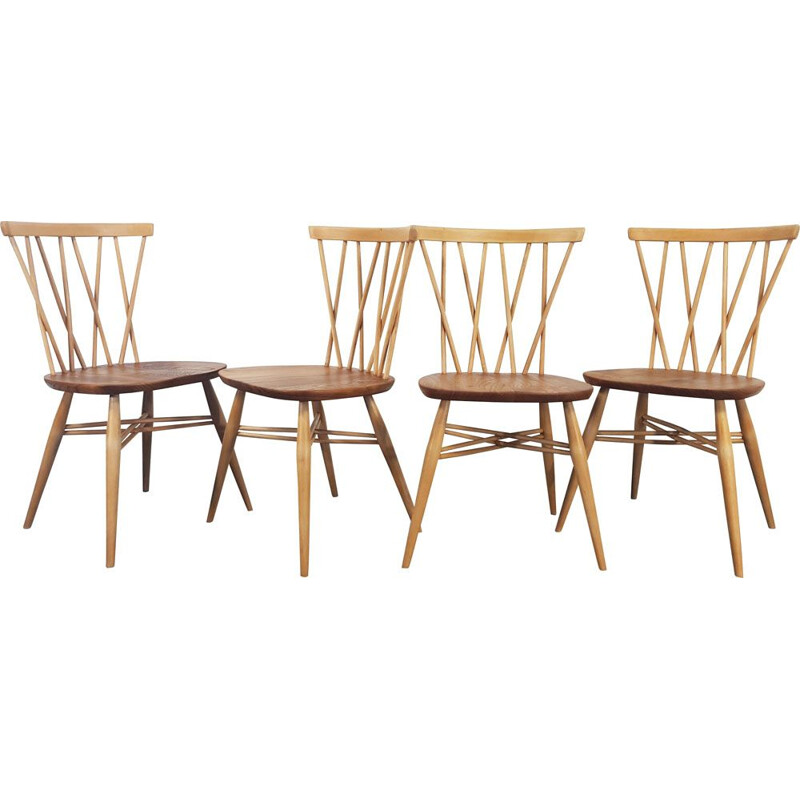 Set of 4 vintage dining chairs candlestick by Lucian Ercolani for Ercol 1960s