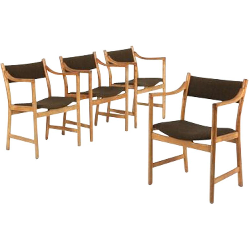 Set of 4 vintage CH50 armchairs for Carl Hansen& Søn in oak and wool
