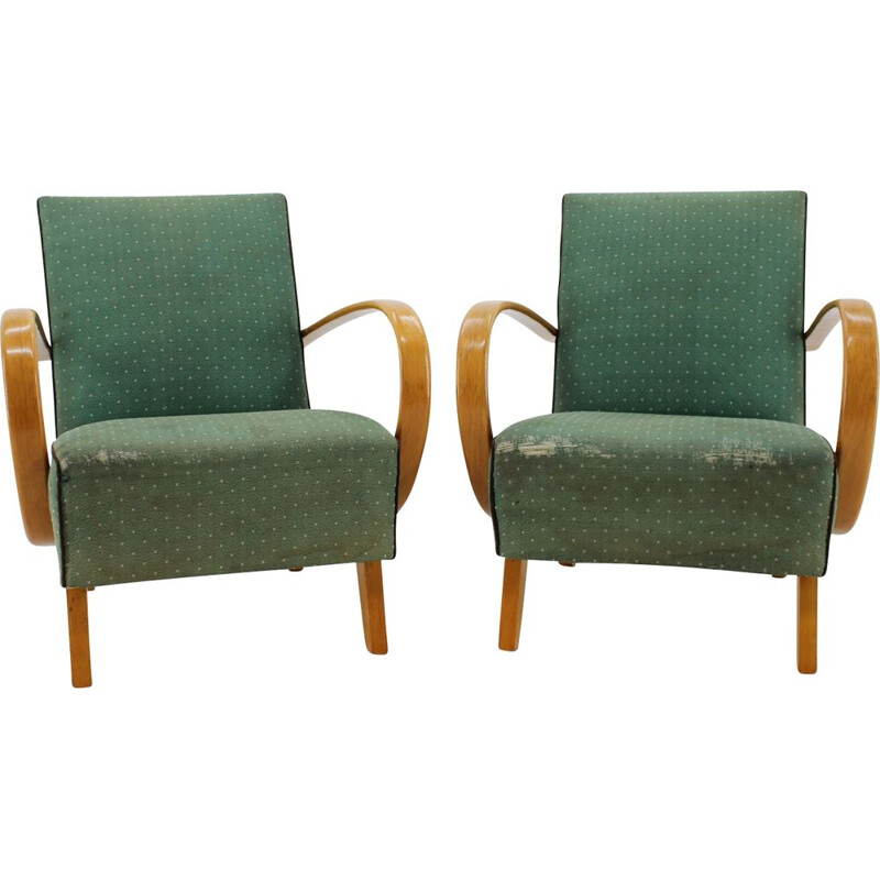 Pair of vintage armchairs by Jindřich Halabala in green fabric 1950s