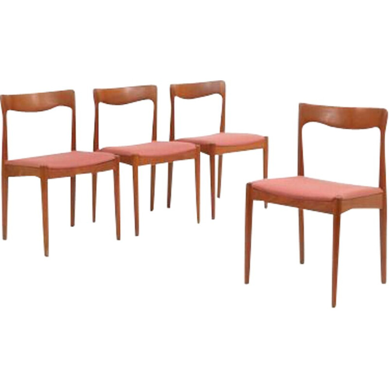 Set of 4 vintage scandinavian chairs for Vamo in pink wool and teak