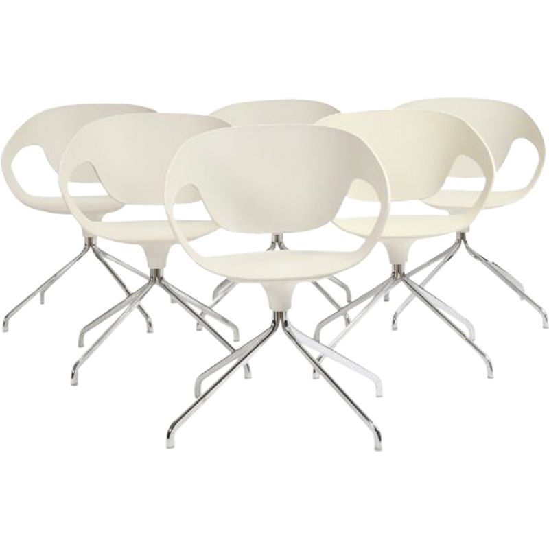 Set of 6 vintage Vad-Chair for Casamania in plastic and steel