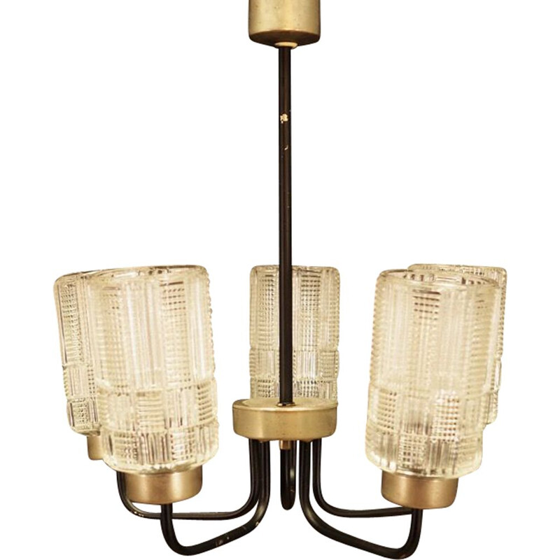 Vintage danish chandelier in glass and metal 1970s