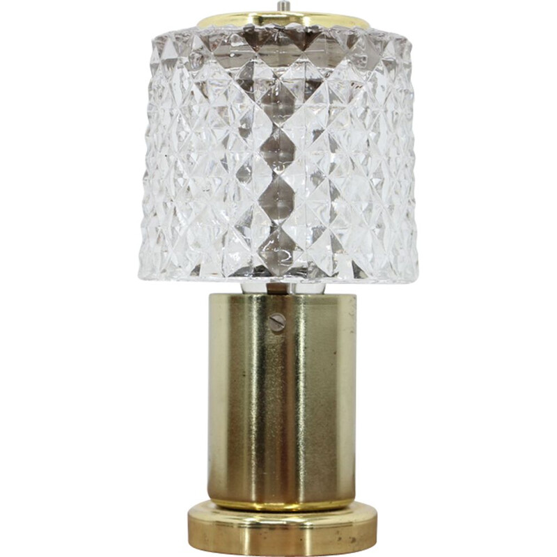 Vintage small table lamp by Kamenicky Senov in glass and brass 1970s