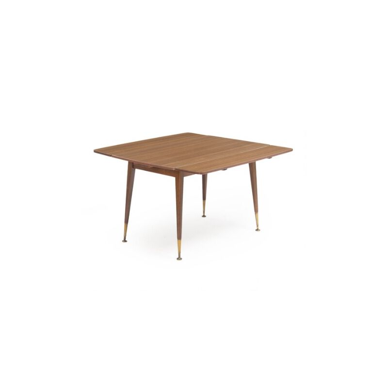 Italian Vintage Walnut And Brass Table 1960 Design Market